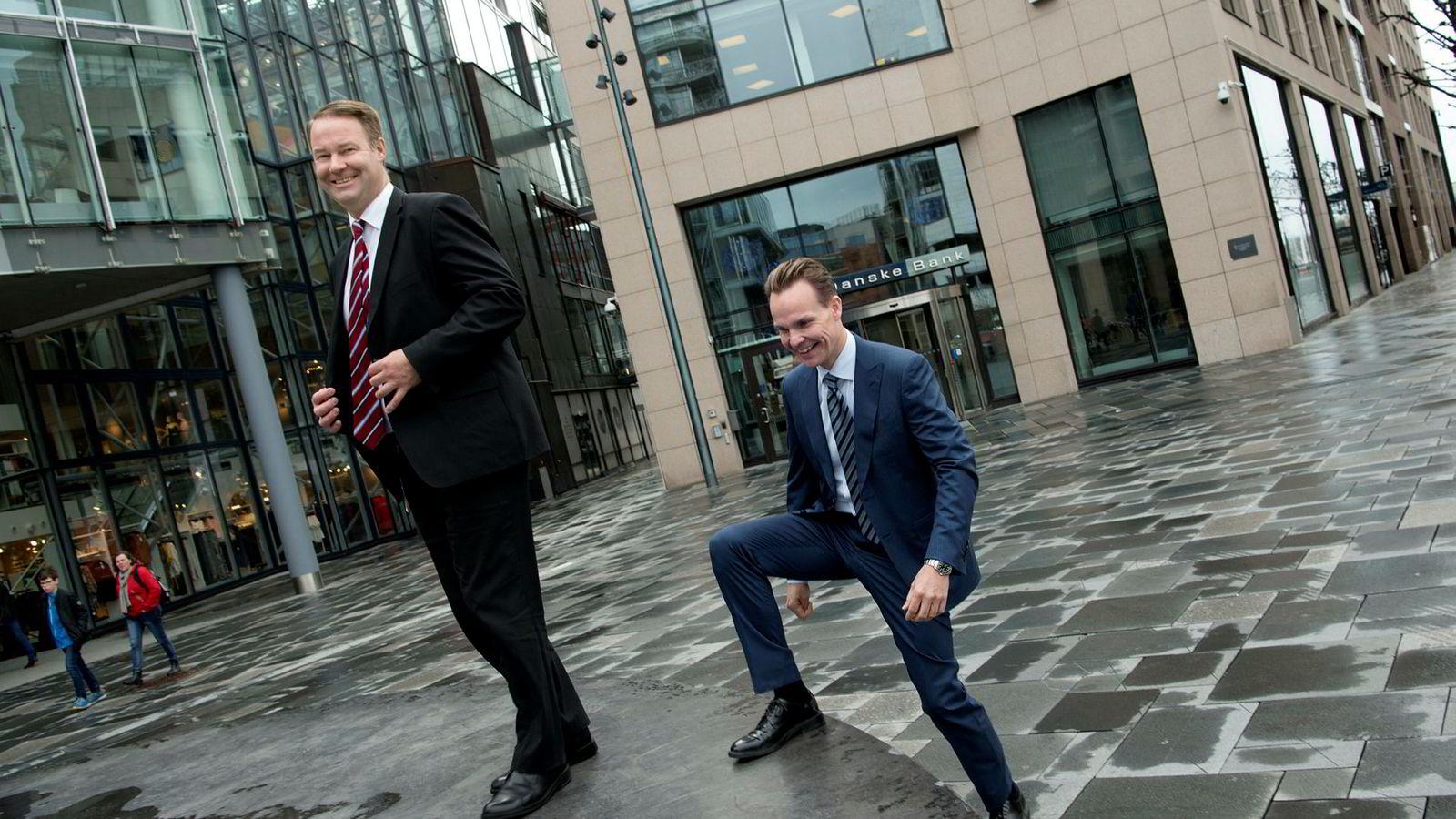 Lars Alstrup (til høyre) har overtatt som sjef for personmarkedet i Danske Bank etter Trond F. Mellingsæter, som i tillegg til å være landsjef for Danske Bank Norge også har ansvaret for bedriftsmarkedet.