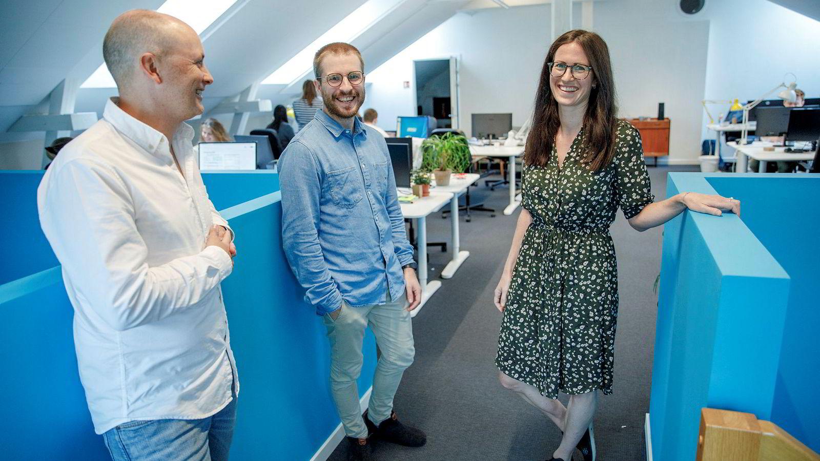 Inzpire.me får med Schibsted på laget og verdsettes til 91,6 millioner. Fra venstre: Christian Horn Hanssen, investeringsansvarlig i Schibsted, Marie Mostad, gründer Inzpire.me og Mats Lyngstad, gründer Inzpire.me