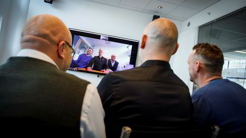 Utviklingsdirektør Vegard Hammer (t.v), administrerende direktør Jonas Rinde og kommersiell direktør Lars Rønning i Tandberg-utbryteren Huddly har sikret en avtale med det amerikanske teknologiselskapet Crestron. Foto: Gunnar Blöndal