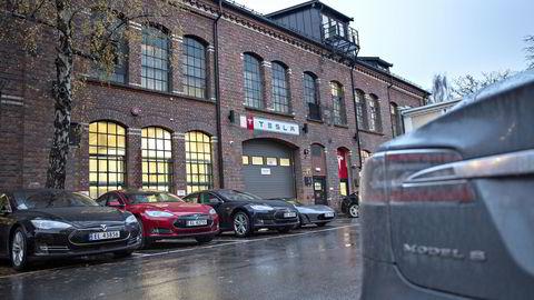 Teslabutikk og -service på Skøyen i Oslo. Foto: Aleksander Nordahl