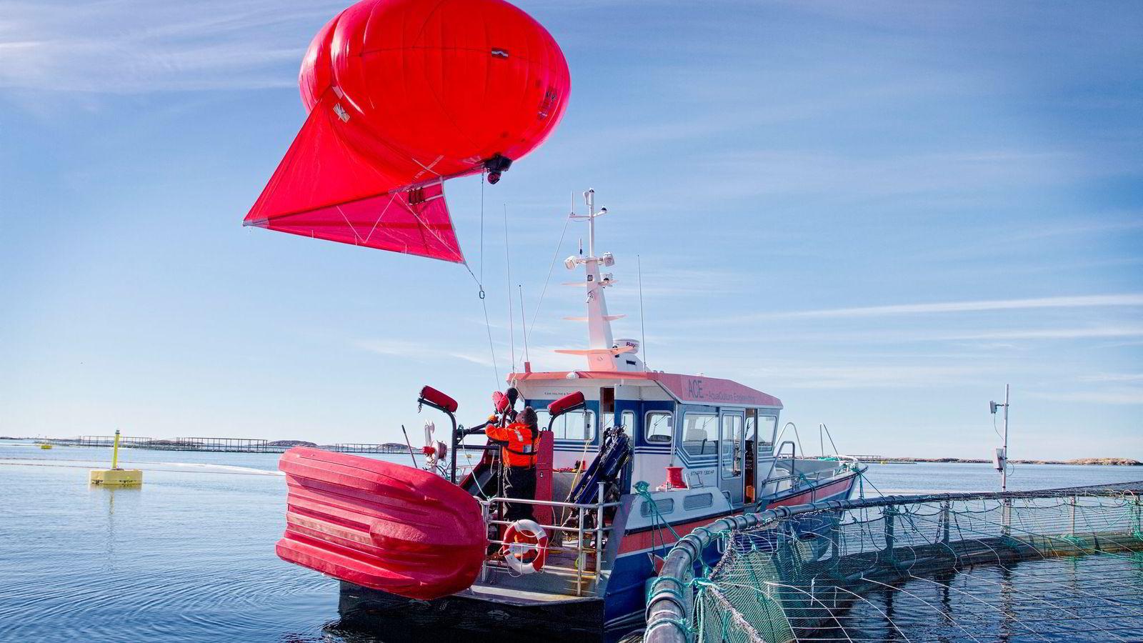 I Sintefs sensodrone-prosjekt brukes en heliumballong utstyrt med infrarødt kamera som sender data trådløst og styres fra bakken.