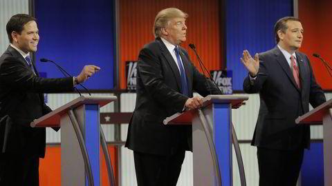 De gjenværende republikanske presidentkandidatene møttes til debatt torsdag. F.v.: Marco Rubio, Donald Trump og Ted Cruz. Foto: REUTERS/Jim Young / NTB SCANPIX