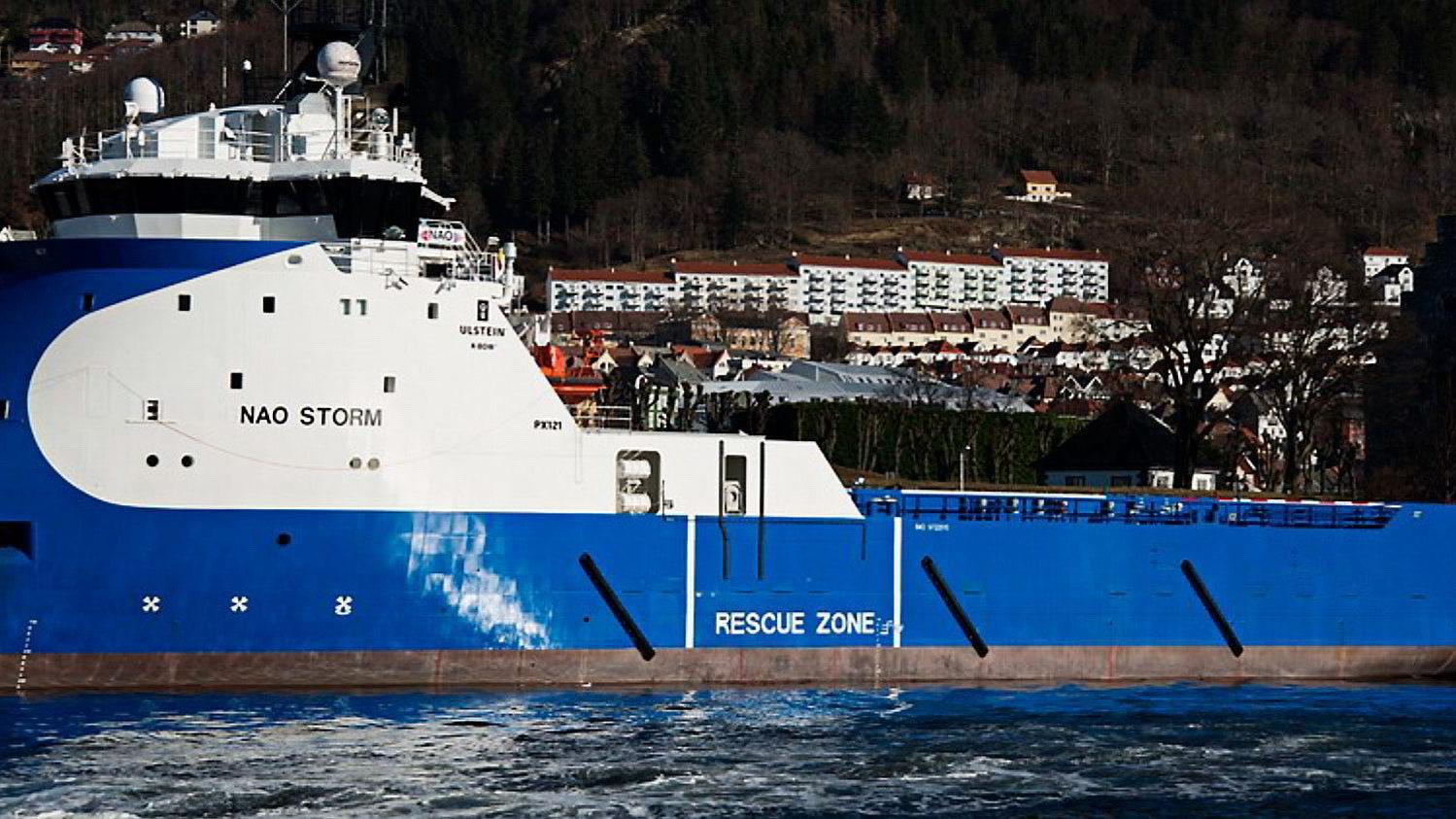 «Nao Storm» drives teknisk av rederiet Remøy Shipping i Fosnavåg. Plattformforsyningsbåten har utstyr for å ta ombord inntil 200 flyktninger.