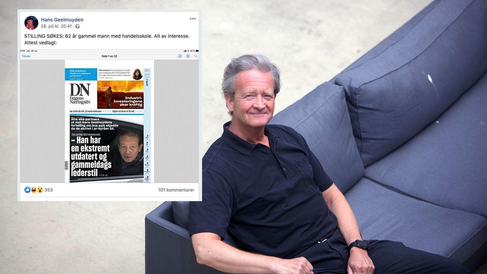 PR-mann Hans Geelmuyden deler faksimile av DNs forside mandag på sin facebookside.