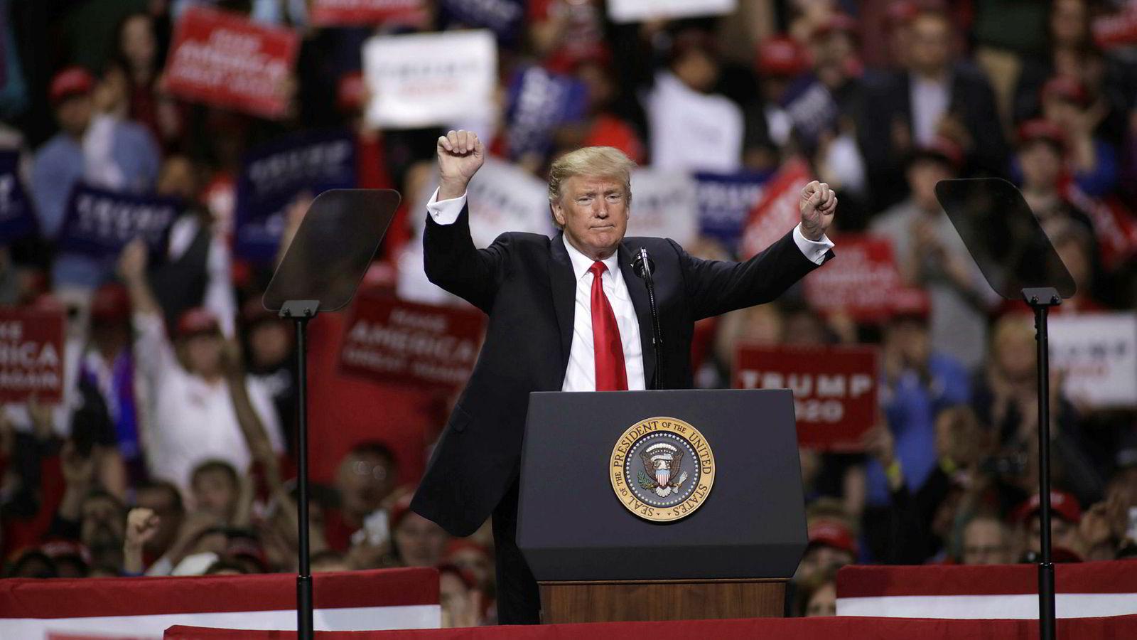 President Donald Trump har for lengst startet valgkampen til 2020, her på et folkemøte i Green Bay, Wisconsin nå i helgen.