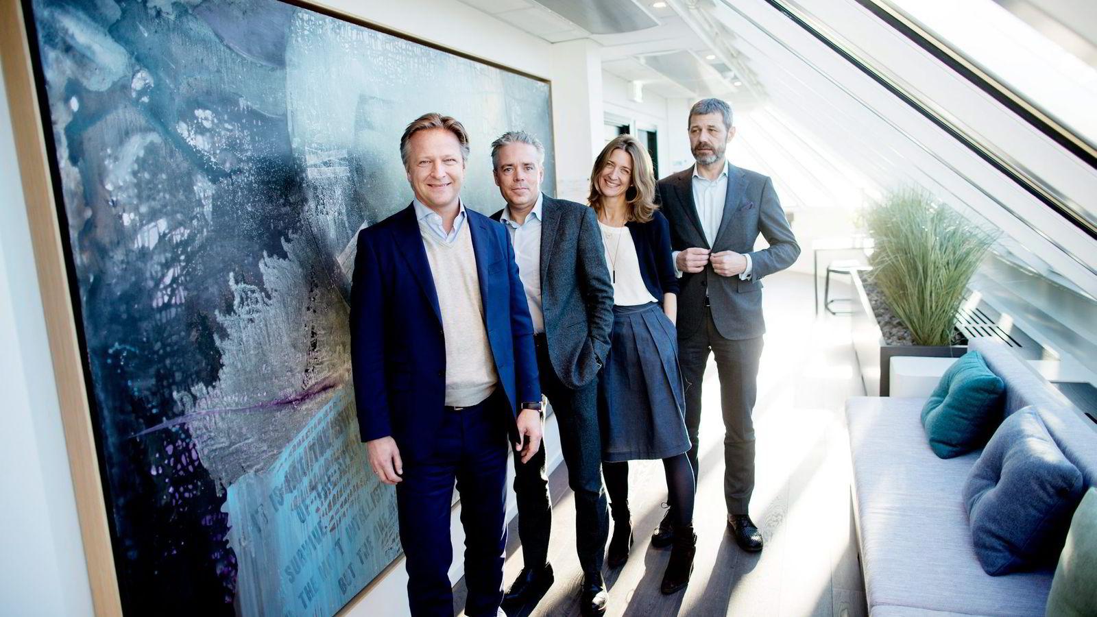 Partnerne i Zynk tok ut 11,4 millioner kroner i utbytte ifjor. Daglig leder Claus Sonberg (fra venstre) Jan Glendrange, Anniken Haugen Jebsen og Hans Olav Otterlei. Foto: