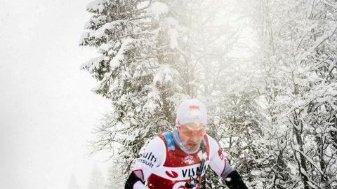 Komiker Nils Ingar Aadne har deltatt i langløpscupen i vinter. Her fra Kaiser Maxmillian Lauf i Østerrike. Lørdag er det Birken. Foto: Privat