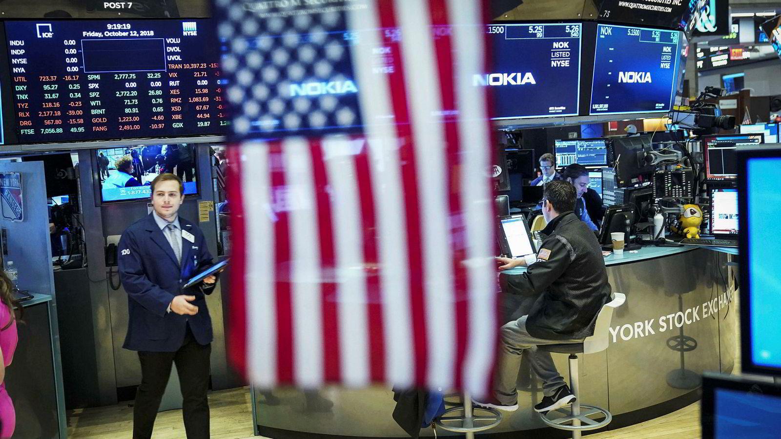 USA-børsene faller mandag.