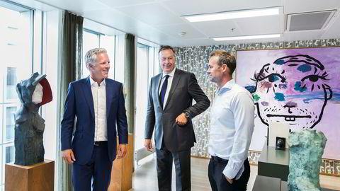 Cato A. Haug (fra venstre), Gert W. Munthe og Gaute Gillebo fra Herkules Capital, som eier matkassekonsernet Linas Matkasse.