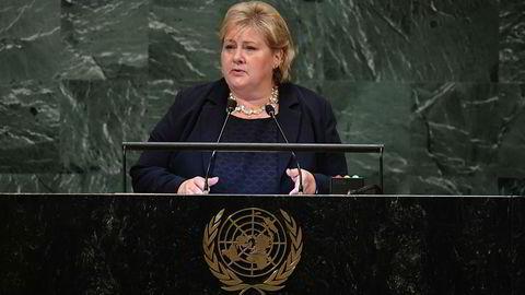 Statsminister Erna Solberg talte i FNs hovedforsamling onsdag.