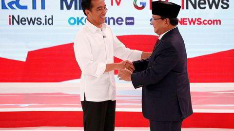 Indonesias president Joko Widodo (til venstre) leder foran Prabowo Subianto på meningsmålingene før valget i april. Det er skapt mange «enhjørninger», som er verdt over en milliard dollar, i den indonesiske oppstartssektoren.