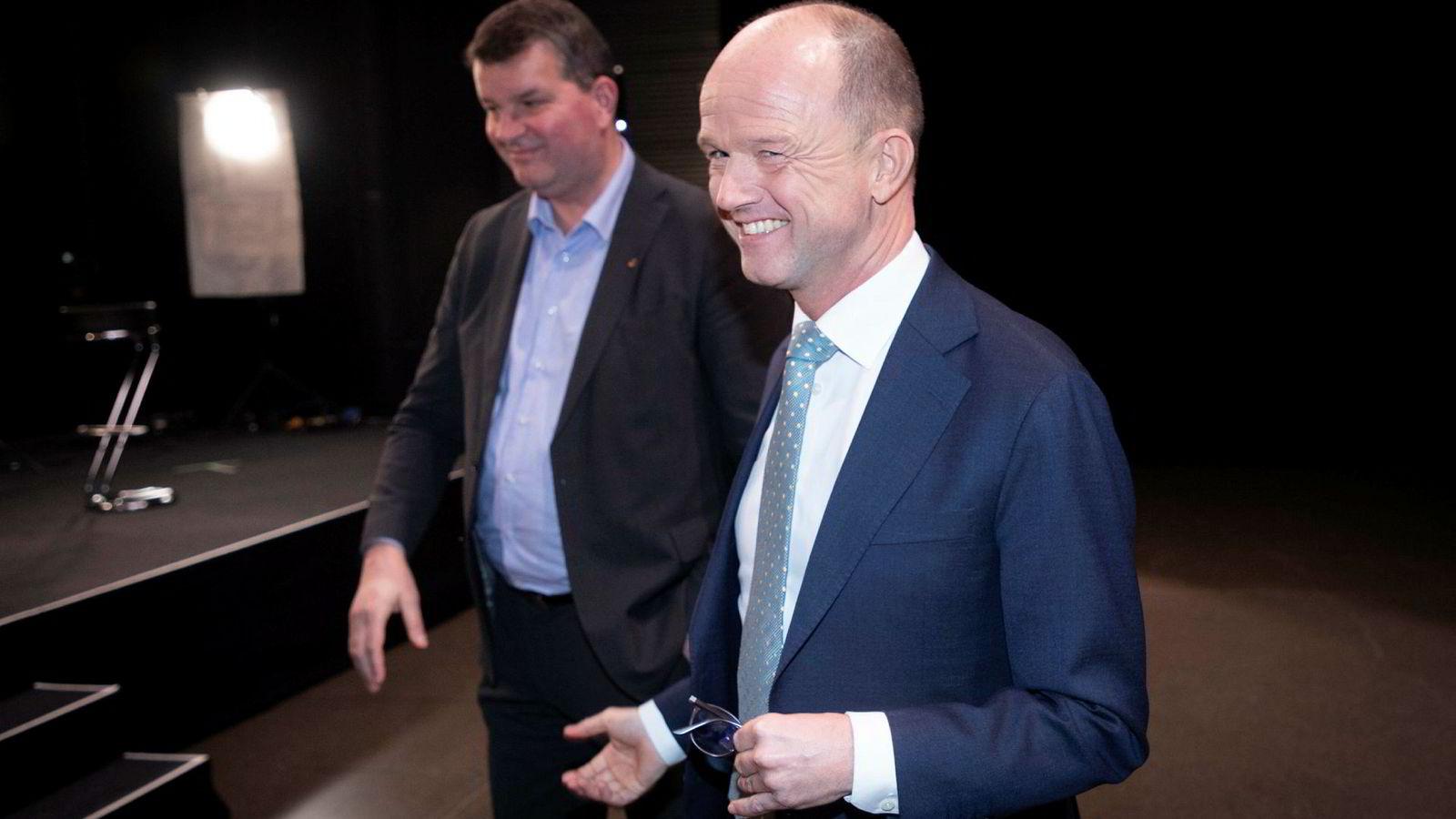 LO-leder Hans-Christian Gabrielsen (til venstre) og NHO-leder Ole Erik Almlid skal inn i sitt første lønnsoppgjør fra mandag 11. mars. Fortsatt er smilene på plass.