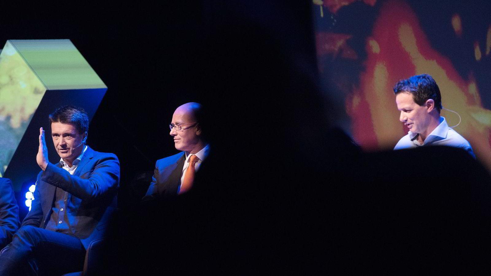 Ole Robert Reitan i Rema (fra venstre), Geir Inge Stokke i Coop Norge og Runar Hollevik i Norgesgruppen i paneldebatt. Begge foto: Per Ståle Bugjerde