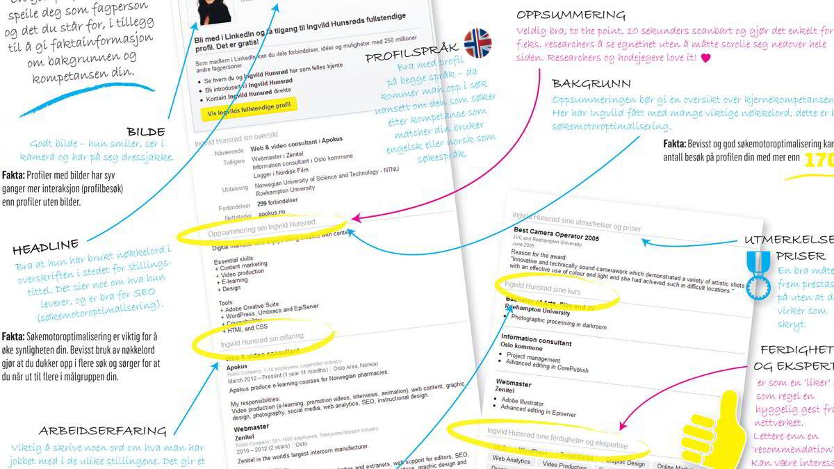 Dette er profilen til Ingvild Hunsrød som fikk jobb gjennom LinkedIn. Nederst i saken kan du se hele profilen med ekspertenes kommentarer.