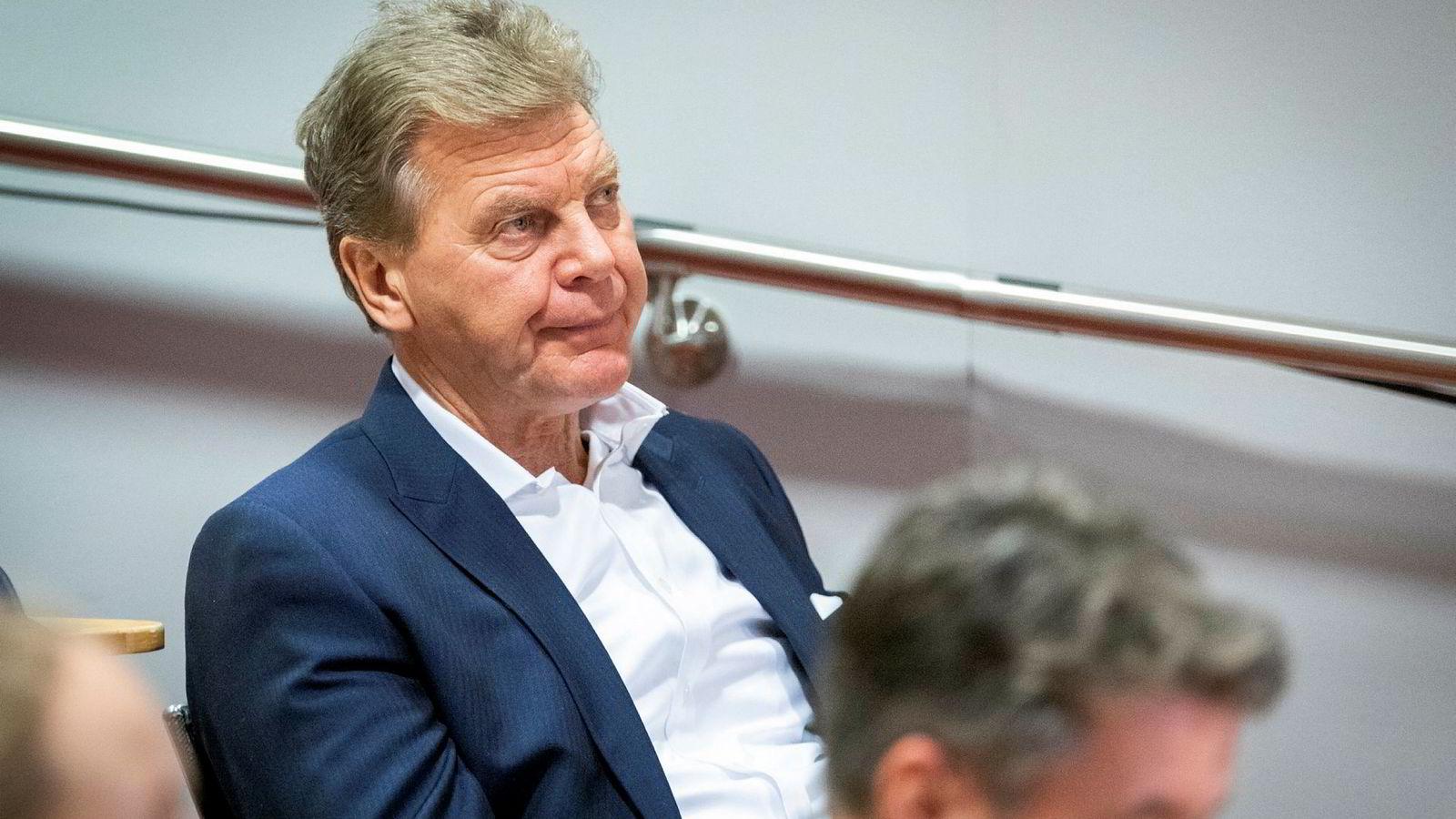 Styreleder Bjørn H. Kise i Norwegian under presentasjonen av kvartalsresultatet.