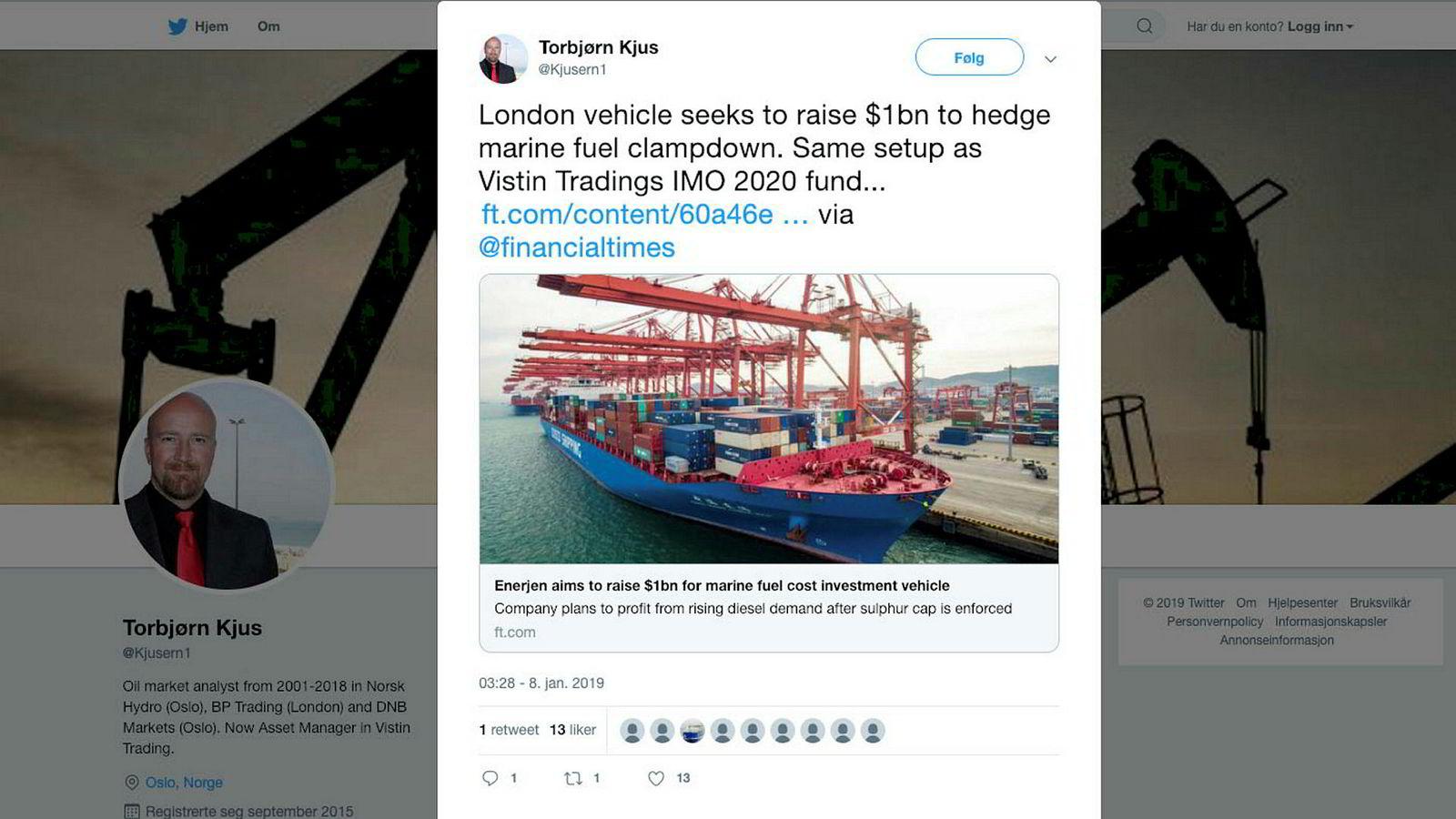 Det mest talende i Torbjørn Kjus' twittermelding på tirsdag er de tre punktumene til slutt.