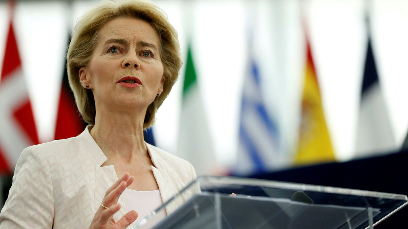 Ursula von der Leyen talte til EU-parlamentet i Strasbourg, før medlemmene skal stemme over hennes kandidatur som ny president for EU-kommisjonen.
