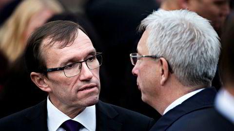 Arbeiderpartiets klimapolitiske talsperson Espen Barth Eide (til venstre) fikk sin tidligere statsrådskollega, nå sjef i Norsk olje og gass, Karl Eirik Schjøtt-Pedersen til å miste fatningen sist uke.