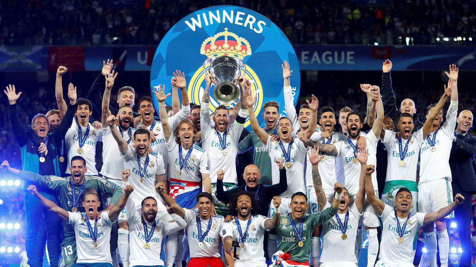 Det spanske fotball-laget Real Madrid, her etter finaleseieren over Liverpool i Champions League, Kiev, 2018.