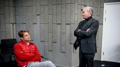 Rallysjåfør Andreas Mikkelsen (til venstre) og broren Nicolai Prydz mener Telenor rappet forretningsideen deres om tjenester basert på kjøredata fra oppkoblede biler. Fredag var Mikkelsen på plass i voldgiftsretten i Oslo. Foto: Gorm K. Gaare