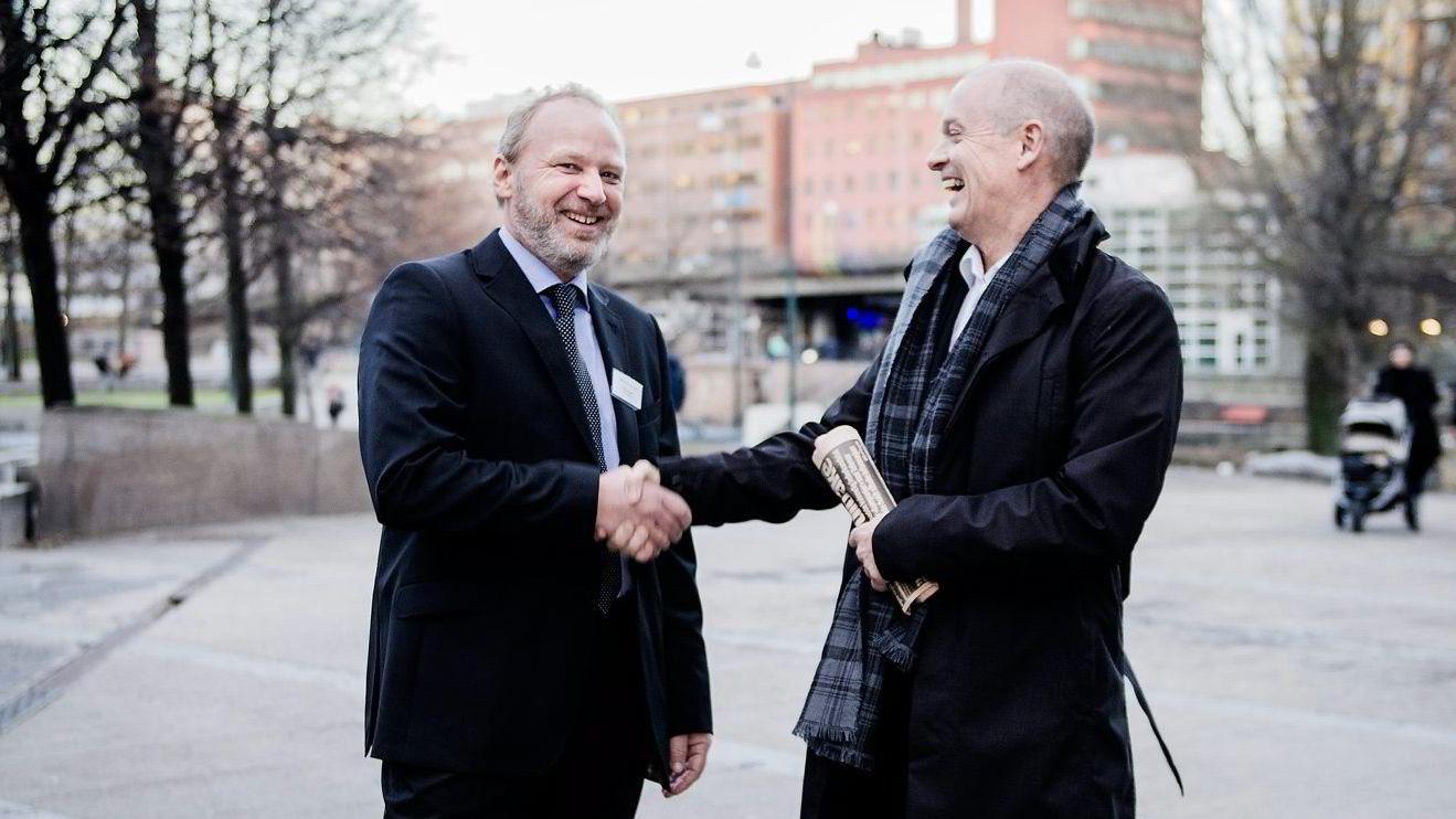 IKM-gründer Ståle Kyllingstad (høyre) og daglig leder Tom Hasler (venstre) i IKM Cleandrill stakk av med seieren i Dagens Næringslivs gasellekåring i 2015. Hvem vinner i år?