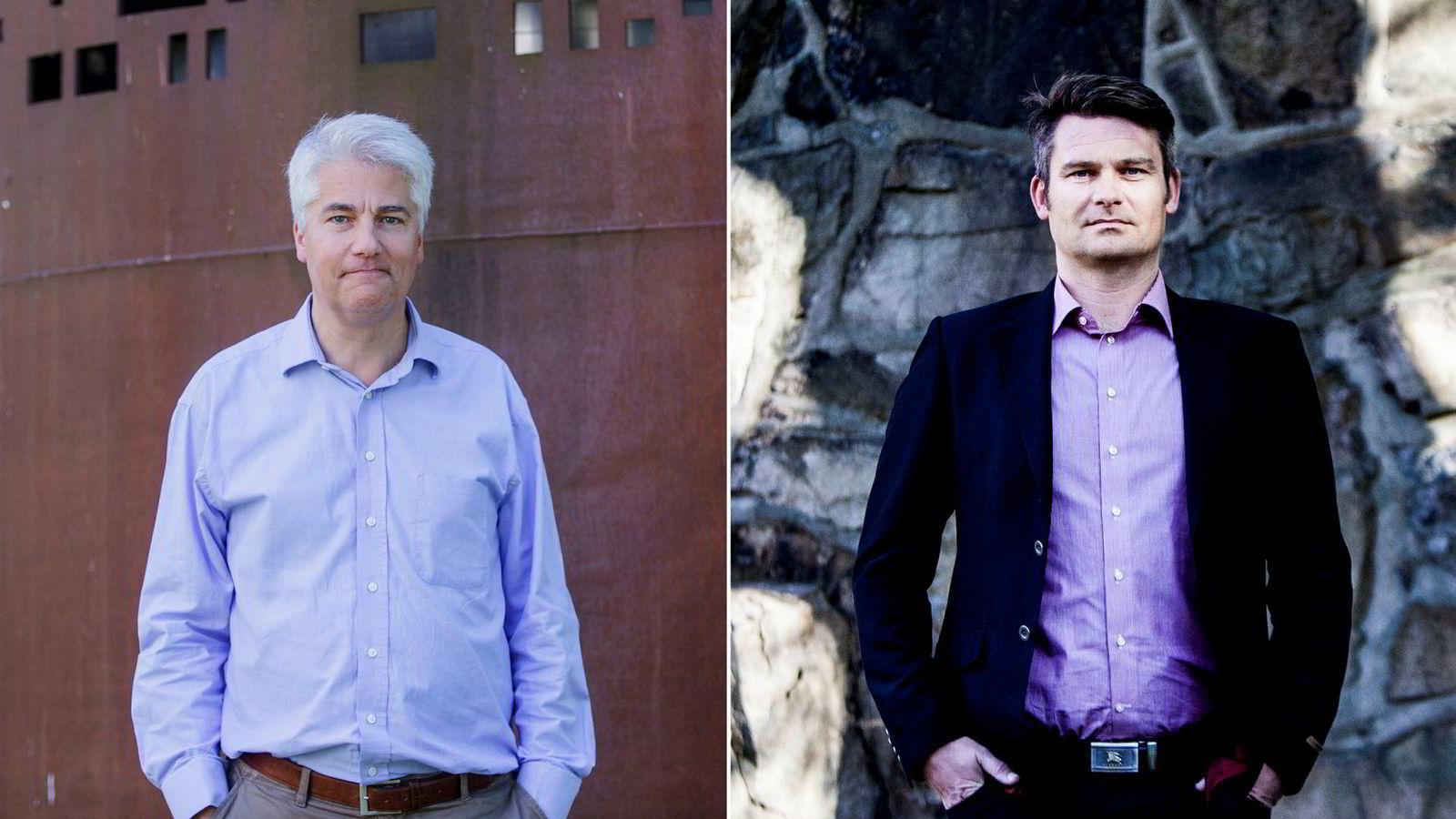 Øystein Dørum og Roger Bjørnstad er sjeføkonomer i henholdsvis NHO og LO.