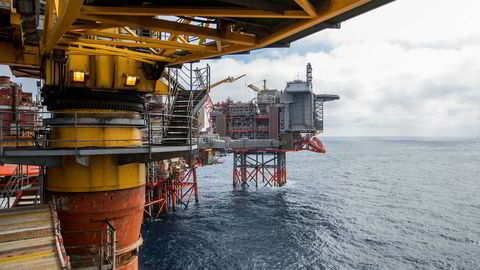 Her Aker BP-plattformen Valhall i Nordsjøen.