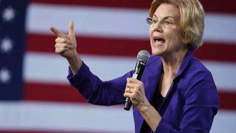 Elizabeth Warren har hatt fremgang på meningsmålingene i det siste. Her på et valgmøte i Las Vegas.