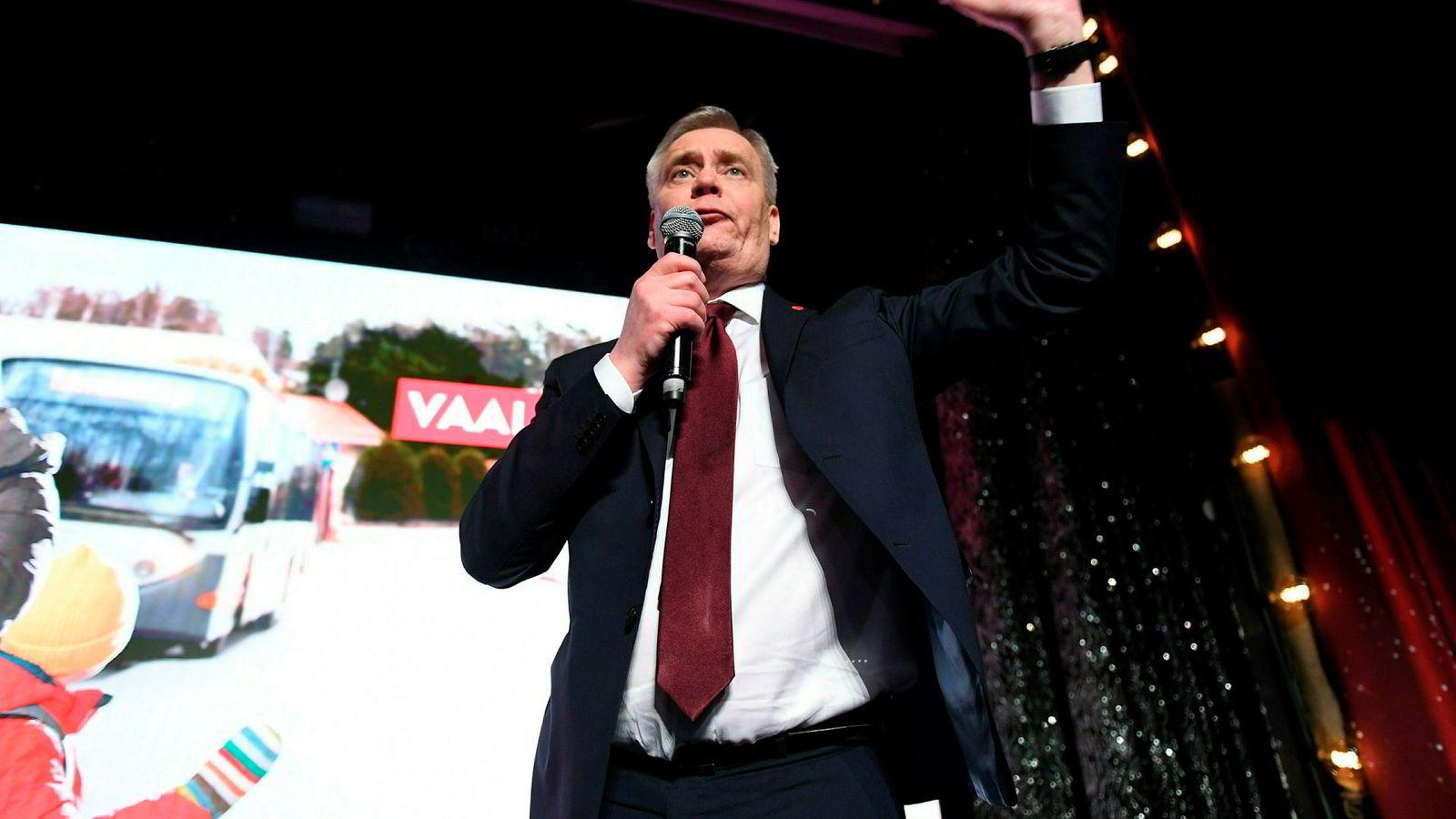 Det sosialdemokratiske partiet SDP med partileder Antti Rinne i spissen ble største parti i valget i Finland.