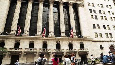 Fra New York-børsen New York Stock Exchange på Wall Street tidligere denne uken. Foto: Spencer Platt / Getty Images /  AFP / NTB SCANPIX