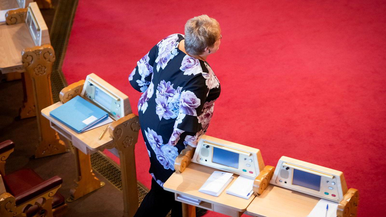 Kulturminister Trine Skei Grande deltok i spørretimen på Stortinget onsdag, men fordi søknaden om statsstøtte fra Faktisk.no er til behandling ville hun ikke si hva hun mener om saken.