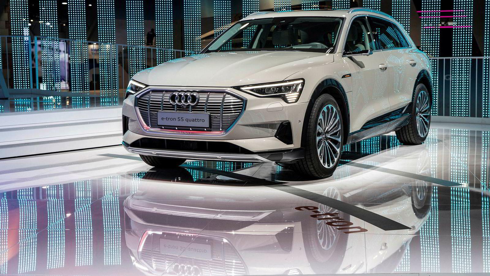 Audi E-tron ble vist under elektronikkmessen i Las Vegas tidligere i januar. De første norske kundene får bilen sin i månedsskiftet februar-mars.