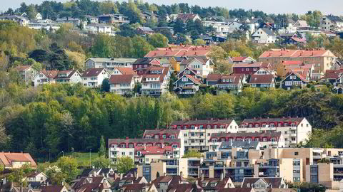 Kredittsjef Endre Jo Reite i Sparebank 1 SMN har merket et tydelig stemningsskifte der sulten etter små leiligheter har minket. Bildet viser leilighetsbygg i Ekebergåsen i Oslo.
