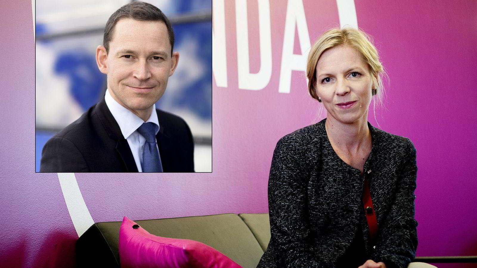 Marte Gerhardsen i Agenda og og Eirik Øwre Thorshaug som er myndighetskontakt i Telenor Norge og tidligere statssekretær (innfelt). Foto Mikaela Berg/Telenor