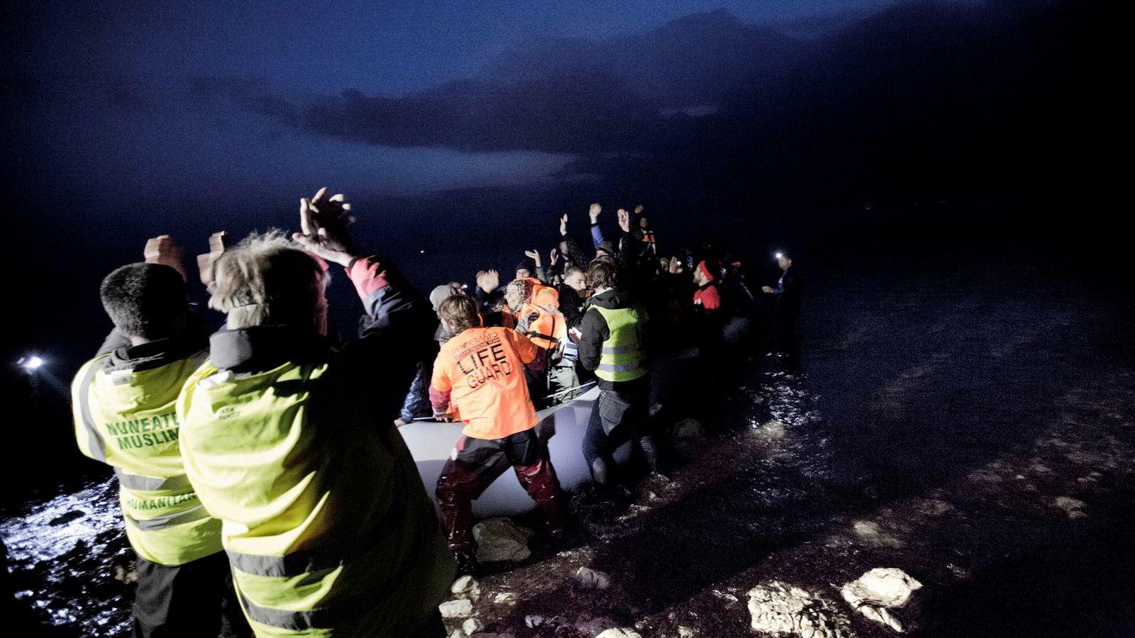 Antallet migranter som forsøker den farligste ruten fra Libya til Italia og Malta, har gått kraftig ned fra 2018 til 2019. Her fra Lesbos i Hellas.