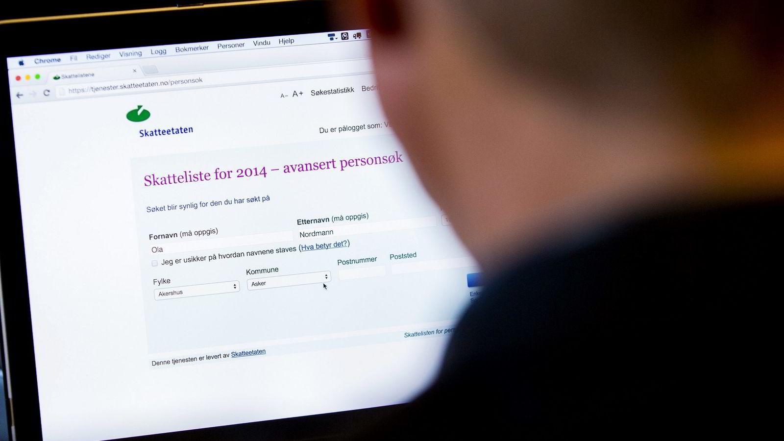 Skattelistene for 2015 blir publisert fire timer tidligere enn planlagt. Foto: Vegard Wivestad Grøtt/