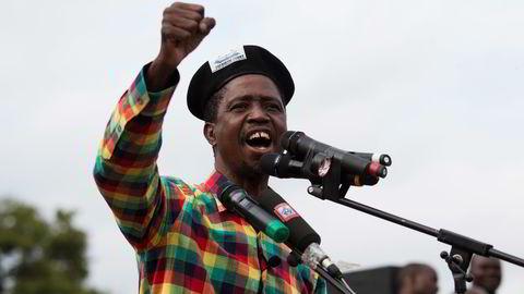 VANT. Edgar Lungu fra det venstreorienterte regjeringspartiet Patriotisk front under et valgkampmøte i Lusaka tidligere denne måneden. Foto: Rogan Ward / Reuters / NTB scanpix