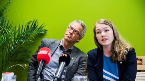 MDG ligger for tiden et stykke under sperregrensen. De nasjonale talspersonene Une Aina Bastholm og Rasmus Hansson møtte pressen tirsdag i forkant av partiets landsmøte.