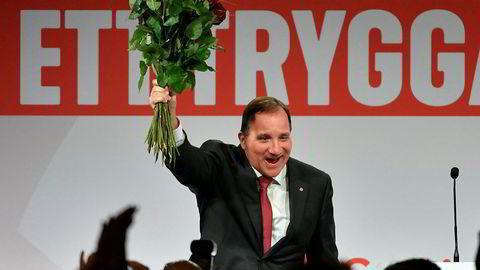 Sveriges statsminister Stefan Löfven på Socialdemokraternas valgvake søndag kveld.