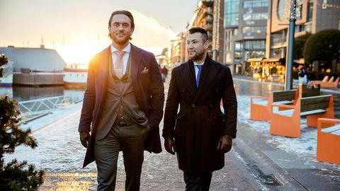 Didrik Rommen Olsen (til venstre) og Erik Eriksen, tidligere superselgere i skandaleselskapene Indigo og Omicron. Nå har Olsen fått tilbud om å bli megler i Norse Securities. Foto: Alexander Norheim