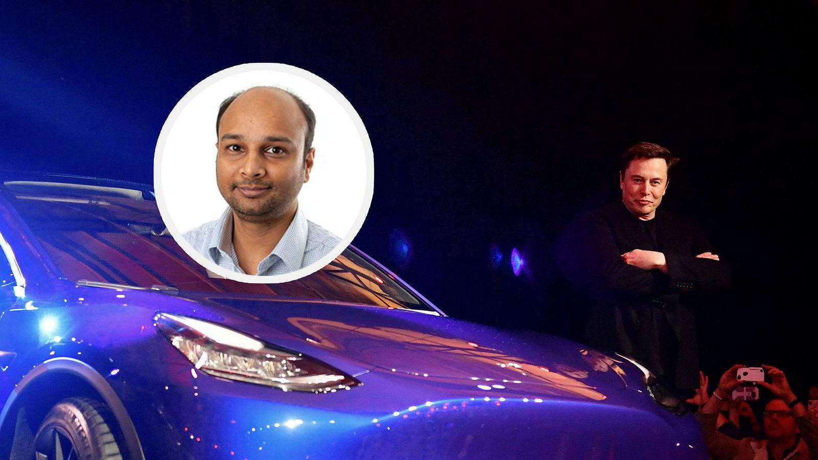 Sintef-forsker Kaushik Jayasayee (innfelt) er positiv til Tesla-gründer Elon Musks batteriplan.