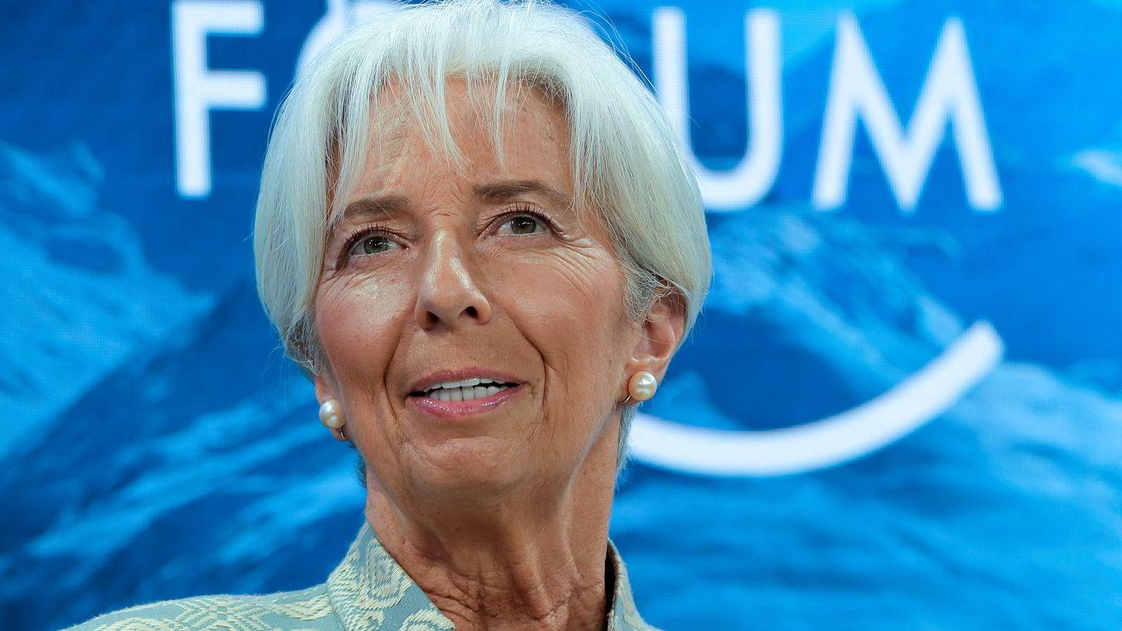 Christine Lagarde anbefaler eksportører å se mot Norge. Her fra et møte under World Economic Forum i Davos tidligere i år.