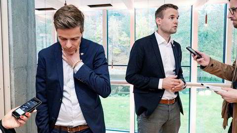 KrF-leder Knut Arild Hareide og nestleder Kjell Ingolf Ropstad fronter hver sin side i KrFs debatt om veivalg.