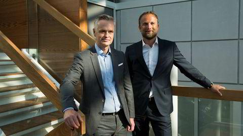 Jonas Ström (til venstre) overtok nylig sjefsstolen i ABG Sundal Collier. Her sammen med CFO Geir B. Olsen.