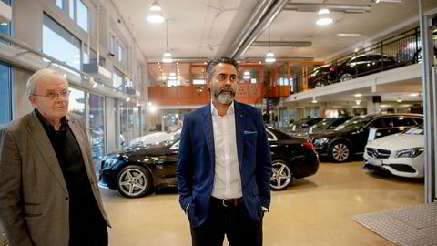 Konsernsjef Zahid Saddiq i Star Autoco er i konflikt med bilimportøren Bertel O. Steen. Til venstre advokat Johan Haga.