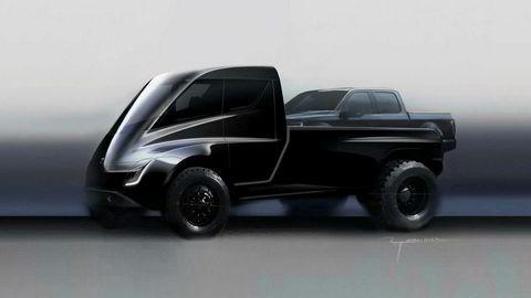 En skisse Tesla har laget av den nye elektriske pickup-modellen.