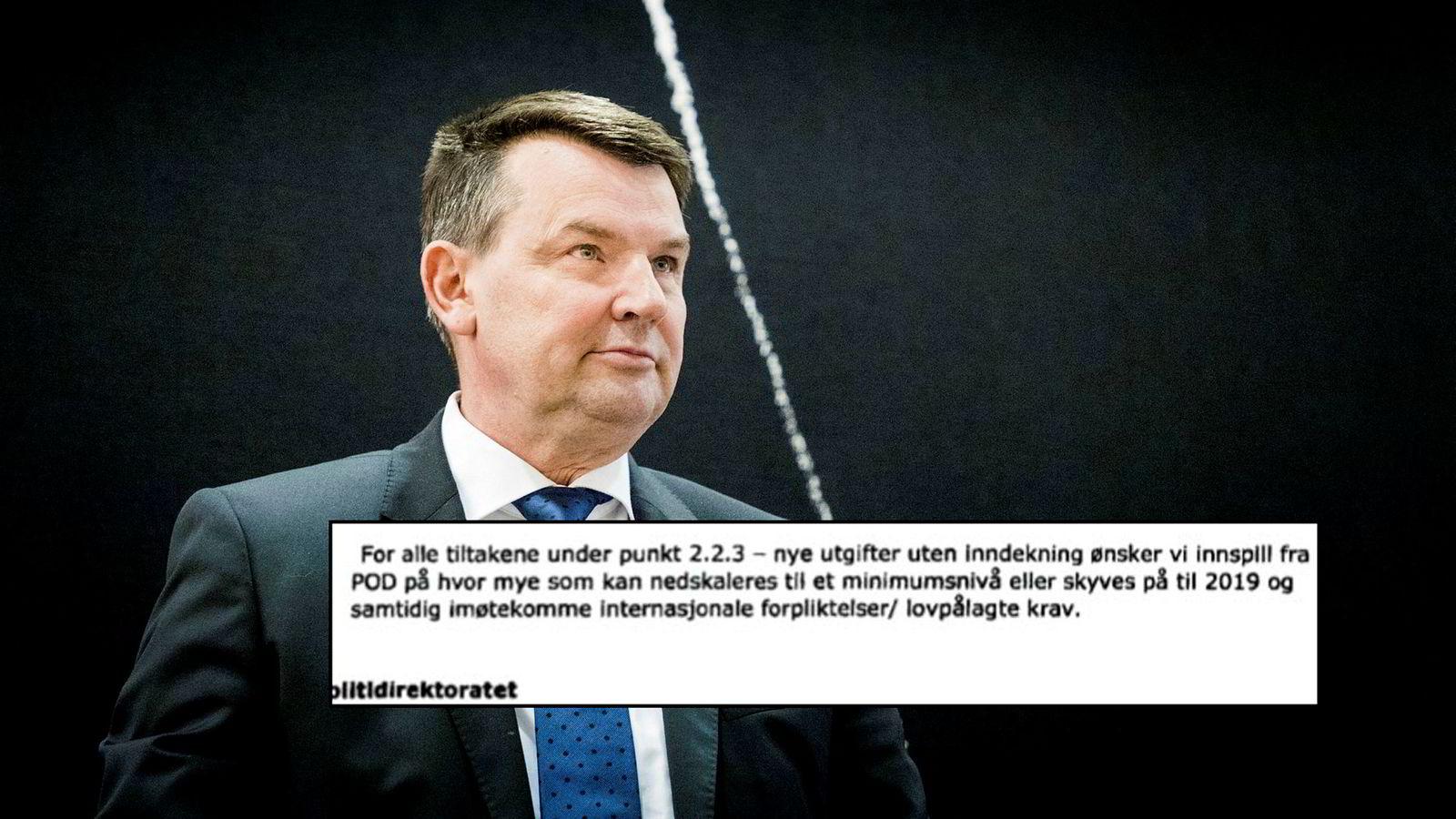Justis-, beredskaps-, og innvandringsminister Tor Mikkel Wara under høringen om objektsikring. Han var ikke justisminister da departementet spurte om hvor mye mindre penger som kunne brukes.