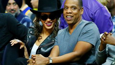 Ekteparet Beyoncé og Jay Z på NBA-basketballkamp mellom Los Angeles Clippers og Golden State Warriors.