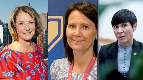 Mona Juul, Trine Heimerback og Ine Eriksen Søreide er alle venninner. Utenriksministeren har erklært seg inhabil overfor begge to.