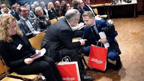 Helseminister Bent Høie (til høyre) deltok onsdag på konferansen «Helse og Fremtid», i regi av Novartis og Legemiddelforeningen. Foto: Elin Høyland